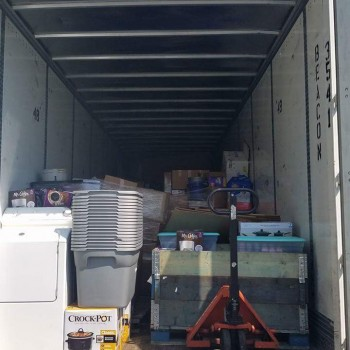 Loading supplies and donations by Trucking Logistics, a Tennessee Based Trucking Company