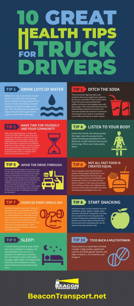 10 TIPS FOR TRUCK DRIVERS FOR STAYING HEALTHY ON THE ROAD